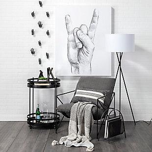Mercana Leonidas Gray Fabric Wrap Black Metal Frame Accent Chair, Gray, rollover