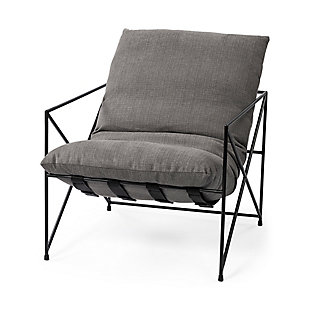 Mercana Leonidas Gray Fabric Wrap Black Metal Frame Accent Chair, Gray, large