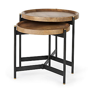 Mercana Marquisa Light Brown Wood with Black Metal Base Nesting Side Tables (Set of 2), , large