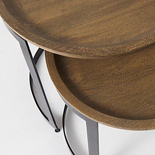Mercana Aisley Light Brown Wood with Black Metal Base Round Nesting Side Tables (Set of 2), , large