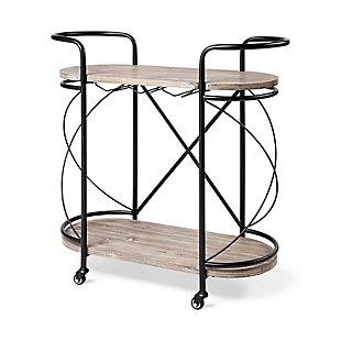Mercana Marlon Black Metal Frame Two Tier Wood Shelves with Stemware holder Bar Cart, , large