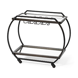 Mercana Chriselle Black Metal And Glass Two Tier Bar Cart, , large