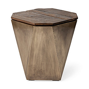 Mercana Esagono II Hexagonal Brass and Natural Wood Hinged-Top End/Side Table, , large