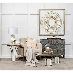 Mercana Jacinta II Round Glass Top Metal and Marble Pedestal End/Side Table, , rollover