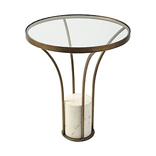 Mercana Jacinta II Round Glass Top Metal and Marble Pedestal End/Side Table, , large