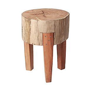 """Mercana Asco 18""""H Rustic Solid Reclaimed Wood Stool, , large"""