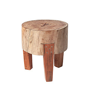 """Mercana Asco 15""""H Rustic Solid Reclaimed Wood Stool, , large"""