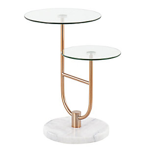 LumiSource Trombone Side Table, White/Gold/Clear, large