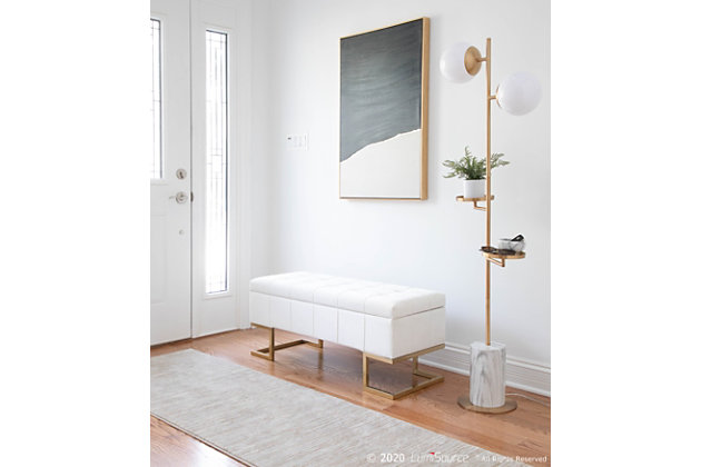 LumiSource Midas Storage Bench, Gold/White, large