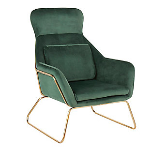 LumiSource Penelope Lounge Chair, Gold/Green, large