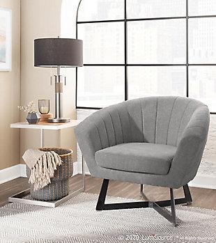 LumiSource Portman Club Chair, Black/Gray, rollover