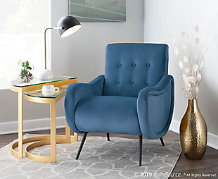LumiSource Rafael Lounge Chair, Black/Teal, rollover