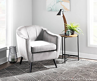 LumiSource Rockwell Velvet Accent Chair, Black/Silver, rollover