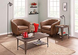 LumiSource Shelton Club Chair, Walnut/Brown, rollover