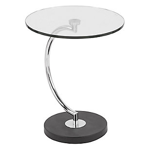 LumiSource C-Shaped Table, Clear/Chrome, large