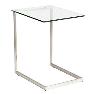 LumiSource Zenn Glass End Table, Clear/Chrome, large
