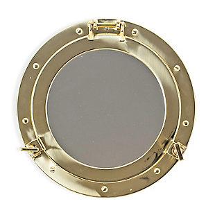 BEY-BERK Solid Brass Porthole Mirror, , large