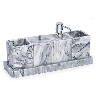 BEY-BERK Jaxson Marble Vanity Set, Gray/White, rollover