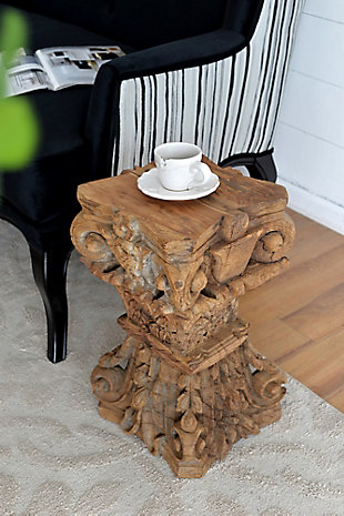 AB Home Carved Pillar Base Stool, , rollover