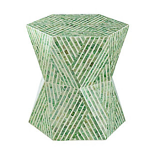 AB Home Geometric Accent Stool, Green, large