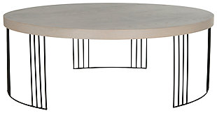 Keelin Mid Century Coffee Table, Beige, large