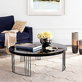 Keelin Mid Century Coffee Table, Black, rollover