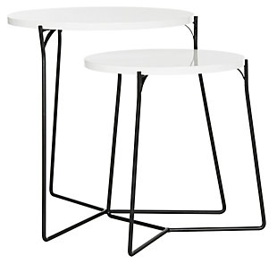 Ryne Mid Century Stacking End Table (Set Of 2), White, large