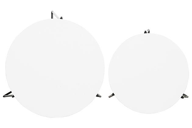 Ryne Mid Century Stacking End Table (Set Of 2), White, large