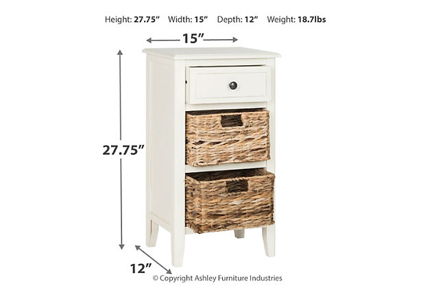 Everly Side Table, Distressed White, large