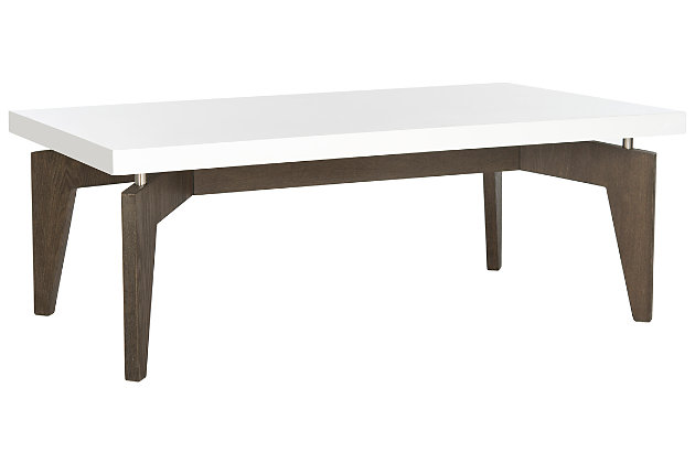 Josef Retro Floating Top Coffee Table, White, large