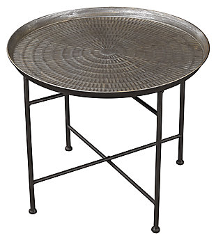 Embossed Pewter Accent Table, , large
