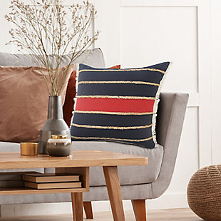 LR Home Lotte Striped with Jute Braids Pillow, , rollover