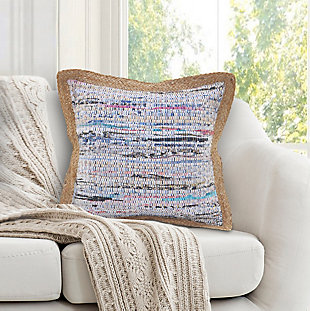 LR Home Textured Muted Chindi Throw Pillow, White/Multi, rollover