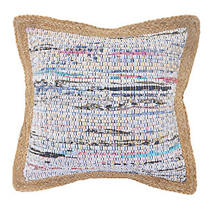 LR Home Textured Muted Chindi Throw Pillow, White/Multi, large