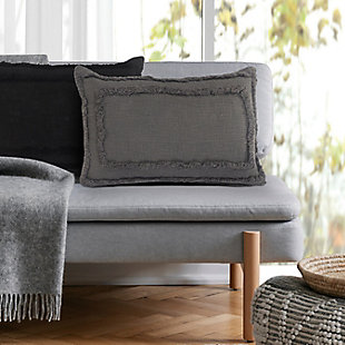 LR Home Kenne Solid Tufted Lumbar Throw Pillow, , rollover