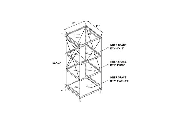 Skylar Pinnacle Four Tier Shelf, , large