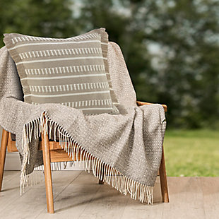 LR Home Beatrice Dashes Fringe Outdoor Pillow, , rollover