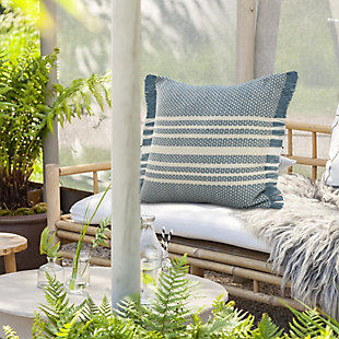 LR Home Centered Striped Woven Fringed Throw Pillow, , rollover