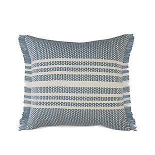 LR Home Centered Striped Woven Fringed Throw Pillow, , large