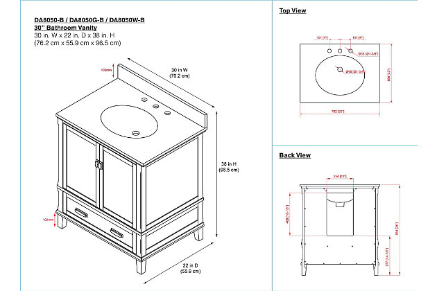 "Traditional Rosemary 30"" Bathroom Vanity, Black, large"
