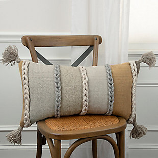 Rizzy Home Braided Stripe Throw Pillow, , rollover