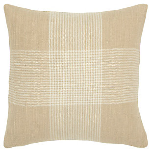 Rizzy Home Woven Plaid Throw Pillow, Natural/White, large