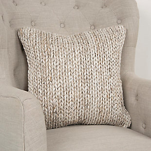 Rizzy Home Donny Osmond Chunky Textured Throw Pillow, Natural/Beige, rollover