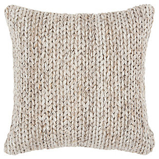 Rizzy Home Donny Osmond Chunky Textured Throw Pillow, Natural/Beige, large