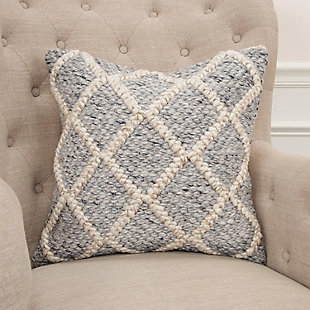 Rizzy Home Donny Osmond Chunky Textured Throw Pillow, Natural/Gray, rollover