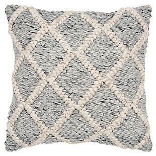 Rizzy Home Donny Osmond Chunky Textured Throw Pillow, Natural/Gray, large