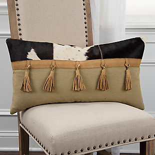 Rizzy Home Leather Tassel Throw Pillow, , rollover
