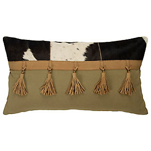 Rizzy Home Leather Tassel Throw Pillow, , large