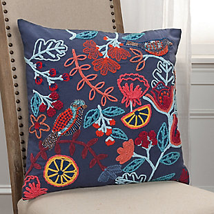 Rizzy Home Embroidered Floral Throw Pillow, , rollover