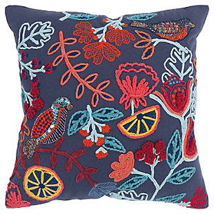 Rizzy Home Embroidered Floral Throw Pillow, , large